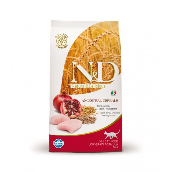 N&D Low Grain Adult Cat Pui si Rodie 10 kg + cadou 1 x ulei somon salbatic Nutrivet 250 ml